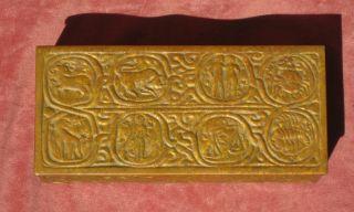 Tiffany Studios Zodiac Box,  Unusual Mottled Gold Finish,  Arts And Crafts Period photo