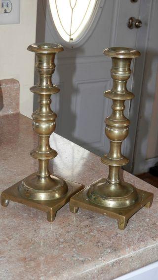 Pr Early Antique Brass / Bronze Candlesticks,  Look Make Offer photo