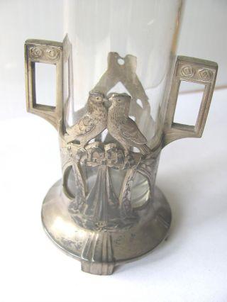 Art Noveau Lovebirds Flower Vase Wmf Germany With Glass Insert 226a - - 6