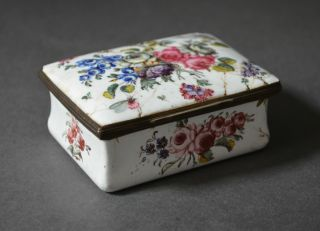 Spectacular 18th Century German? French? Box Flowers Enamel On Copper photo