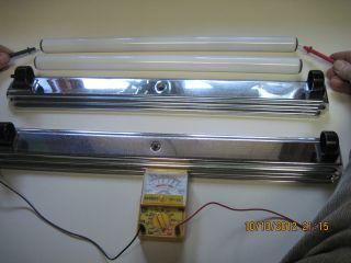 2 - - Lumiline Fixtures And 2 - - - 60 Watt Working Lamps photo