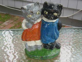 Antique Hubley Grace Drayton Cat 73 Twin Kittens Cast Iron Home Art Doorstop photo