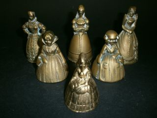 A Set Of Six Victorian Style Brass Crinoline Lady Table Bells photo