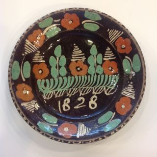 Redware Bowl Dated 1828 photo