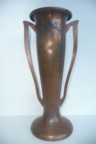 Antique Arts & Crafts Heintz Sterling Overlay On Bronze Handled Trophy Vase photo