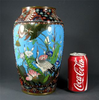 Large Antique Japanese Cloisonne Vase W/ Bird & Flower Decoration,  Meiji Period photo