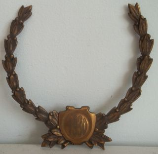 Vintage 1930 Antique Bronze Plaque Metal Laurel Wreath Salvage Element photo