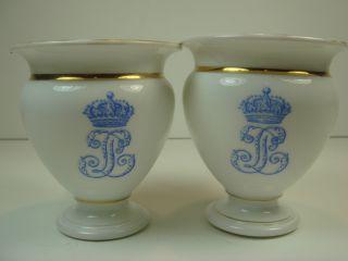 Sevres Porcelain Egg Cup Chateau De Dreux Gold White France photo