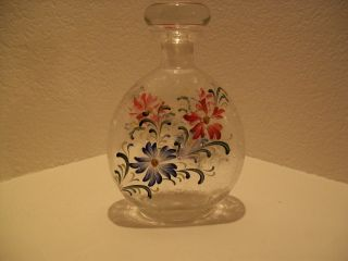 Antique Whiskey Decanter,  Hand Painted,  Very Rare,  Circa 1909 photo