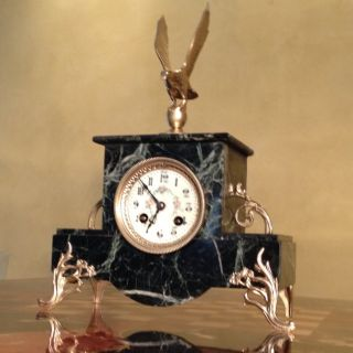 Antique French Japy Bronze & Green Marble Clock C1860s photo