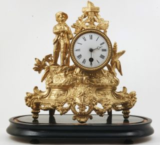 Over 100 Yrs Old Antique French Gilded Metal Figural Clock - Crossroads photo