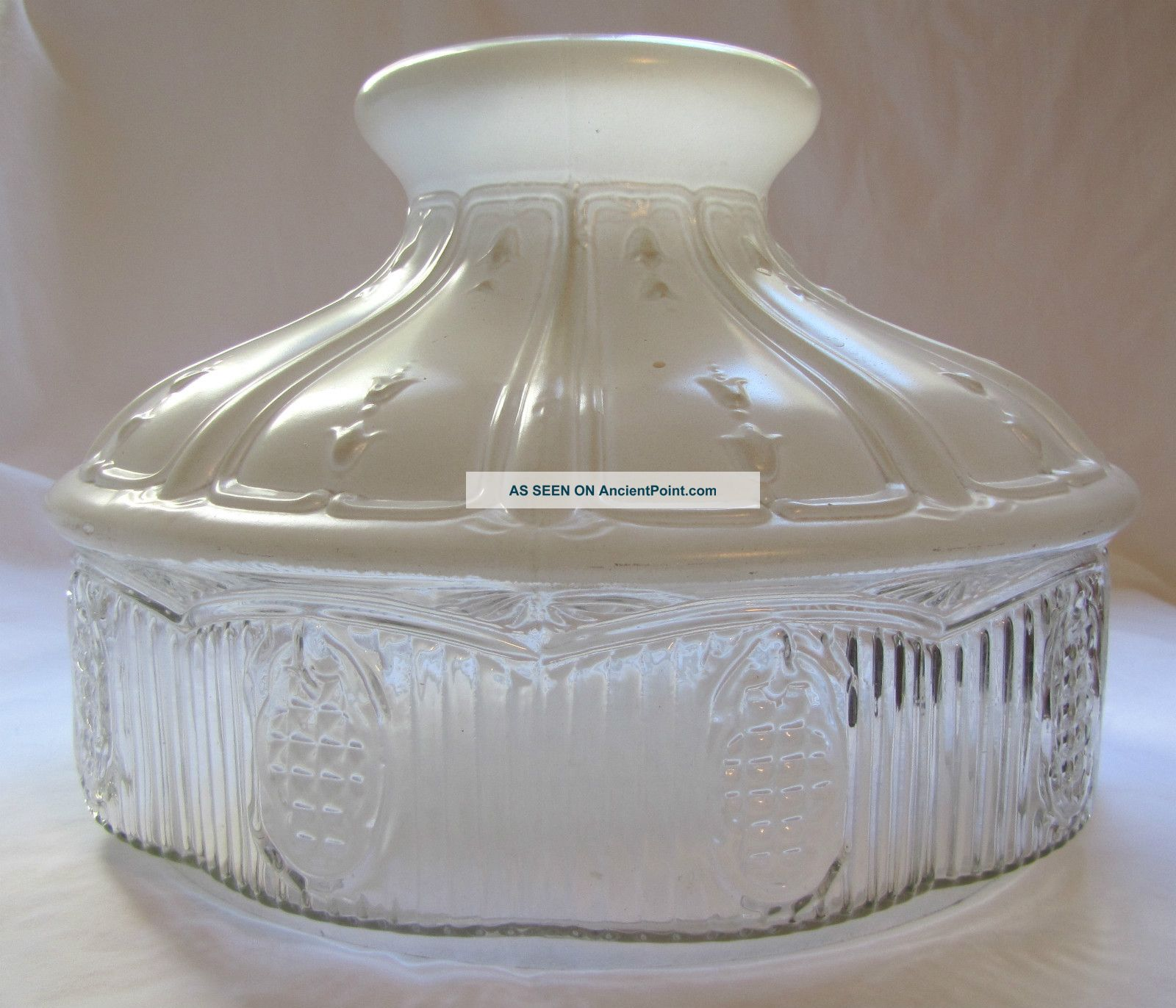 Vintage aladdin 501 glass lamp shade white clear glass aloadofball Images