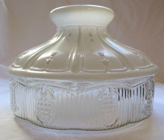 Vintage Aladdin 501 Glass Lamp Shade ~~ White & Clear Glass photo