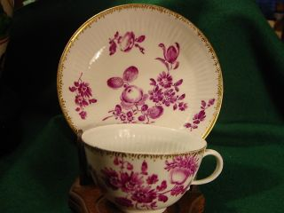 Meissen Cup & Saucer,  Fluted Sides,  18thc,  Purple Flowers 1700s Antique Puce photo