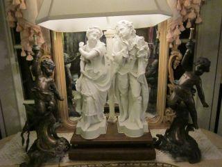 Pr Xl Antique French Rococo Figural Bronze Patti/cherubs Statues photo