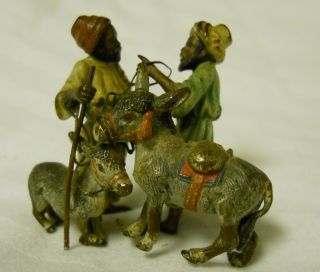 Rare Franz Bergmann Cold Painted Vienna Bronze Miniature Arab Donkey Traders photo