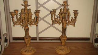 Set Of 2 Large Cast Iron Candelabras photo
