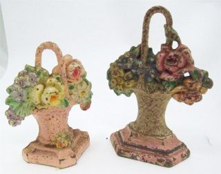 2 Antique Doorstops Hubley 152 And Albany 1 Flower Baskets Cast Iron photo