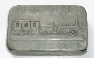 Antique Early Steam Locomotive Train Pewter Snuff Pill Box Case English Vry Rare photo