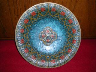 Antique Art Deco Floral Engraved Cloisonne Brass Bowl,  Pedestal Dish photo