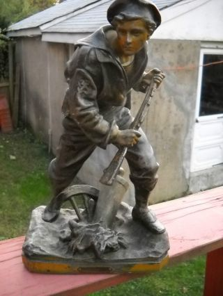 Vintage Metal Statue Of A Navy Man photo