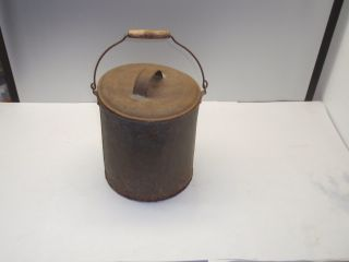 Antique Galvanized Metal Bucket With Wooden Handle And Top Old Decor photo