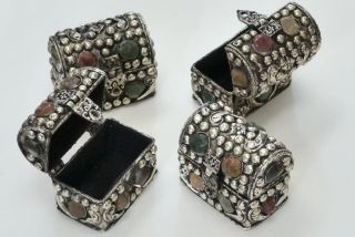 4 Pcs Handmade Gem Stone Brass Jewelry Trinket Metal Boxes F - 645 photo