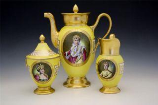 C1810 Sevres Imperial Porcelain 3 Piece Coffee Tea Set Napoleon & Josephine Nore photo