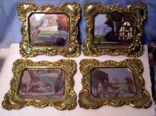 Neat,  Vintage Set Of Four - Solid Brass Wall Plaques Pictures England photo
