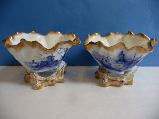 Antique Moore Brothers Ruffled Cups Bowls Twig Stand Delft English Porcelain photo