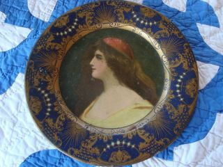 1905 Antique Vienna Art Plate Tray Heavy Metalware W/ Lady Dated photo