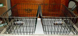 2 Vintage Gym Pool Wire Basket American Playground Machine Industrial Steampunk photo