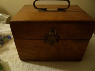 Old Vintage Wood Storage Box With Latch photo