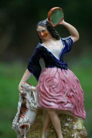 Mid 19th C Staffordshire Of Esmeralda Figure With Tambourine & Goat C1860 photo