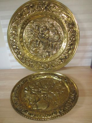 Vintage 2 Decorative Brass Copper Plate Plaque Made In England photo