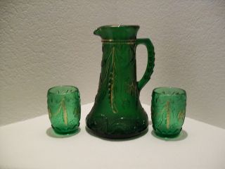 Antique Green Crystal Pitcher,  Gold Trim,  Matching Cups,  Circa 1909 photo