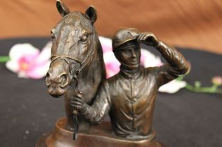 Wonderful Pure Bronze Horse And Jockey Racehorse Statue Sculpture On Marble Base photo