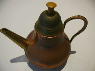 Antique Copper And Brass Tea Kettle Made In Holland 7 Inches High photo