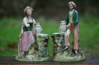 Interesting Pair Of Mid 19th C.  Staffordshire Male & Female Turbaned Figures photo