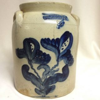 Antique Stoneware: 2gal.  Jar W/ Cobalt,  N.  White & Co.  (ny),  Ca.  1870,  Reserve photo