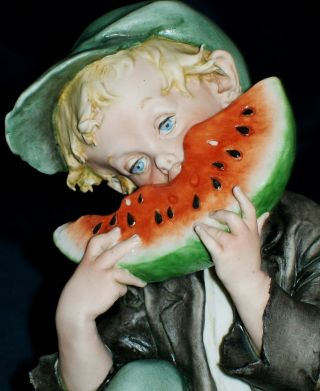 Antique Italy Capodimonte G.  Cappe Boy Eating Watermelon Porcelain Figurine photo