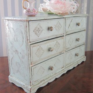 Vintage Petite Florentine Wood Rare Robin ' S Egg Blue 6 - Drawer Chest Italy 16
