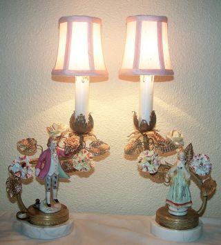 French Porcelain Figures & Flowers Gilt Bronze & Tole Boudoir Lamps Pair photo