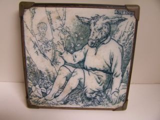 Antique Josiah Wedgwood & Sons Etruria Tile Trivet Midsummers Night Series 1880 photo