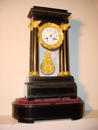 French Brass Inlaid Ebonised Portico Mantle Clock Circa 1860 Whith Its Base photo