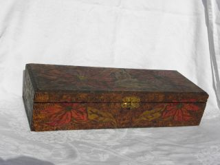 Vintage Flemish Art Co.  Wood Burning Pyrography Wooden Box W/colored Poinsettias photo