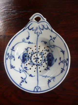 Hand Painted Antique Vtg Blue Onion Germany Tea Strainer Bag Holder Blue & White photo