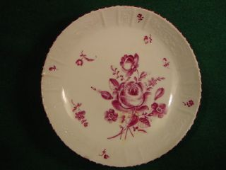 Ludwigsburg Porcelain Saucer Molded Scrolls 18thc 1700s Purple Flowers Antique photo
