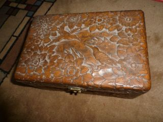 Vintage Carved Wood Jewelry Box - Hummingbirds - Intricate Design All Over. photo