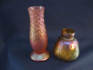 Two Loetz Type Iridescent Vases One Red And One Purple In Color Ca - 1900 photo